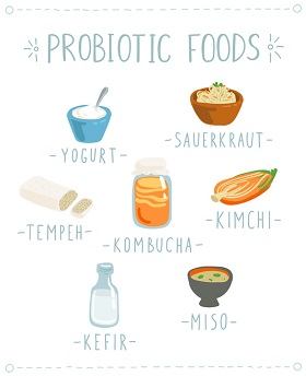 Forskjellig mat med de gode melkesyrebakteriene